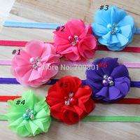 "2"" Chiffon Flowers headbands kids hair accessories 50pcs/lot Rhinestone and pearl Flower on elastic headbands 16colors"
