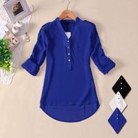 HOT 2014 women spring summer V-neck chiffon elegant all-match solid botton casual spirals shirt blouse white blue black S -XL