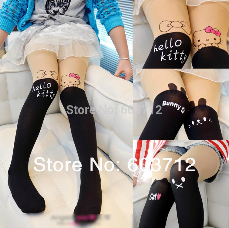 Free shipping 4 Styles Baby Kids Girls Harajuku Panty hosePersonality Stitching Knee Nylon Tattoo Tights pantyhose(China (Mainland))
