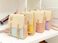 Fashion women's printing backpack color block 2014 casua sweet preppy style school bag trend of female mochila couro feminina