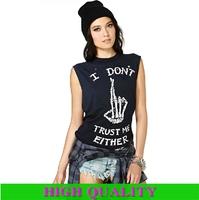 "New 2014 High Street Spring Summer Women Tops ""I DON'T TRUST ME EITHER"" Print Sleeveless T-Shirt O Neck Women Tank Tops In Stock"