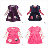 Retail! Free shipping Girls 12m/5y printed lovely peppa pig embroidery tunic top autumn spring baby girl corduroy dress H4402#
