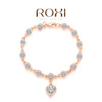 2014 wholesale ROXI genuine Austrian bracelet crystal luxury heart bracelet rose gold plated 100%hand made fashion jewelry