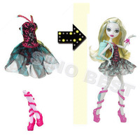 Fashion Original Monster High Lagoona Blue Doll Dress Clothes Clothing Pink Shoes Set Accessories Birthday Girls Baby Toys Gift
