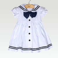 2014 New Baby toddler girl white summer costume cruise navy sailor dress children's one-piece short sleeve summer clothing bow