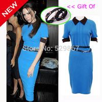 New 2014 fashion women summer dress Victoria Beckham dress Cultivate one's morality thin package hip temperament lapel Gift balt