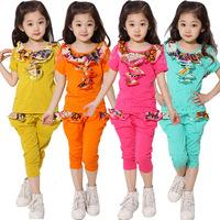 Free shipping 2014 summer set child set girls clothing summer short-sleeve Chiffon Ball Gown  cotton sportswear 4 color 876