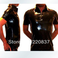 Free shipping Latex latex clothing top zipper style natural straitest Shapers blouse shirt