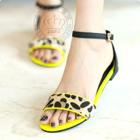 New 2014 gladiator sandals Wholesale Fashion sandals women flat sandals leopard sandals with 3 colors flat shoes europe design
