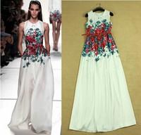 High Quality 2014 Newest Runway Women's Fashion Brief Print Floral Sleeveless Red Belt Floor Length Maxi Dress