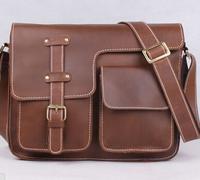 Guaranteed 100% Crazy Horse leather men messenger bags men travel bag men's briefcase business bag 2014 Vintage shoulder bags