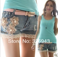 New arrival lace flower female jeans shorts pants female summer shorts free shipping