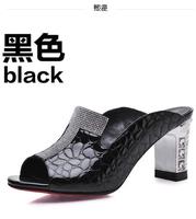 Sandals female 2014 rhinestone genuine leather open toe slippers female platform thick heel high-heeled slippers