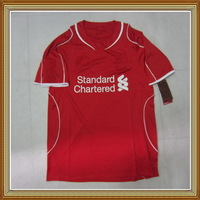 Embroidery Logo!!! 14/15 LivpolFC Home Red Soccer Jersey ,Thailand Quality LivpolFC Red Soccer Shirt+Free Shipping