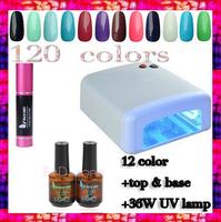 free shipping 12 Color Gel+UV Lamp+TOP COAT+BASE COAT Glue Soak Off Nail Gel Polish Nails Gel Set  UV LED Gel