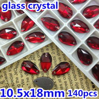 140pcs/box 10.5x18mm Teardrop Sew on stone Siam red color Flatback 2 holes Pear drop sewing crystal rhinestones for dress making
