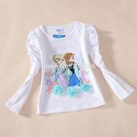 Free Shipping  Kid girl baby child children t shirt long sleeve clothes cotton Princess 3-8T 5pcs/lot CT18