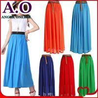 New 2014 spring & summer skirts womens high quality Sexy Chiffon Fashion Bohemian Princess pleated long Skirt 20 colors