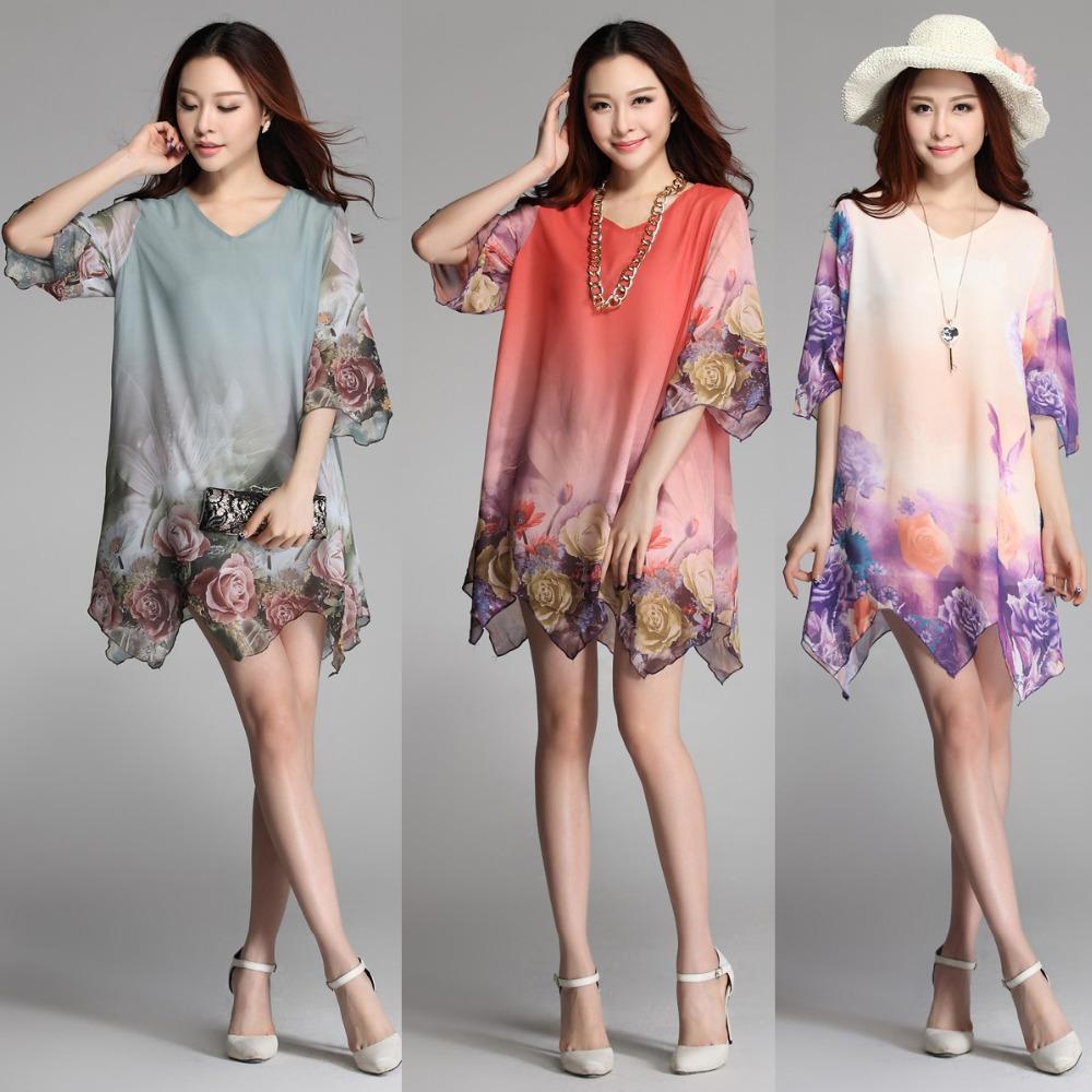 Hot Sale New 2014 Summer Women Elegant Irregular Sweep Chiffon Half Sleeve Loose Plus Size Rose Printing Dress L XL XXL XXXL(China (Mainland))