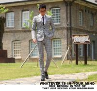 (2 pieces/set) business suit male grey plaid suit civies single slim long-sleeve fashion modern men's clothing
