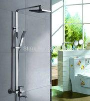 "Chrome Brass Water Pressure Boosting Bathroom Rain 8"" Shower Mixer Tub Faucet Shower Set  se80"