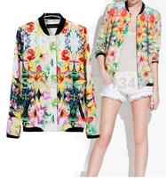 Printed cotton bomber jacket baseball uniform jacket women long sleeve sun protection sun protection clothing women