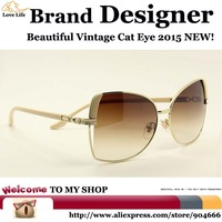Fashion Style Trend uv sunglasses women brand designer 2015,F.D.A High-definition lenses sunglasses women vintage cat eye