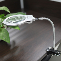 Magnifier Loupe 2.5X 5X LED Illuminating Magnifier Metal Hose Magnifying Glass Desktop Magnifiers with Reading Lamp Light