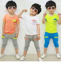 Free Shipping New 2014 Boys Suits Letters Sleeve Pocket Stitching Cotton Leisure Children' Clothing Set Boys Baby Set Kids Set