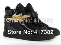 Free shipping Crocodile Side Zip Hi-Top Sneaker White black 2014 women and men  flat Shoes size 35-46, GZ sneakers, GZ shoes