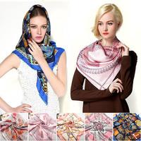 90x90cm 14mm Twill Silk Square Scarves Muslim Islamic Women Hijab Brand Fashion Designer Ladies Twill Scarf