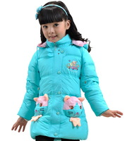Children's clothing 2014 female child cartoon wadded jacket baby outerwear child casual thickening cotton-padded jacket