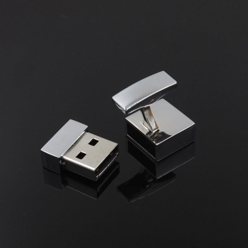Cufflinks Square Promotional Mini Metal USB Stick USB Flash Drive gift usb free laser logo(China (Mainland))