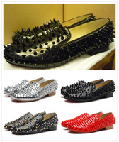 2014 Christmas Gift France LUXURY leather spikes loafers for men, red bottom men's RIVETS fashion loafers, men party dress shoes