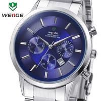 Luxury WEIDE Men Sports Watches Japan Quartz Analog 3ATM Waterproof  Fashion Dive Wristwatch For Men Full Steel Military Watch