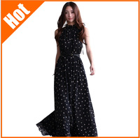 new 2014 women 's long chiffon sexy dot print dresses casual summer women dress beach dress sleeveless Bohemian dress 5 color