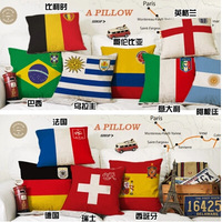 Free shipping World Cup Cushion cover Linen / Cotton Handmade Car seat Decorative pillow case Home  sofa textile decorations