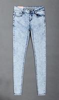 Super skinny light color mid waist skinny elastic slim skinny jeans plus size XS-XXXL
