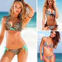 Wome Sexy Top + Bottom Leopard Bikinis Set Bandeau Push Up Swimwear Swimsuit