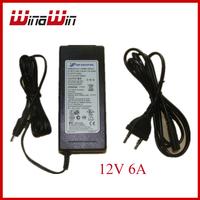 DC12V 6A  LED Power Supply Charger Transformer Adapter 110V 220V to 12V For RGB LED Strip 5050 3528 EU Plug Socket Free Shipping