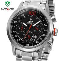 Fashion WEIDE Dive Watch Analog Display Miyota 2115 Quatz Watch Full Steel Waterproof Military Male Clock Men Sports Watches