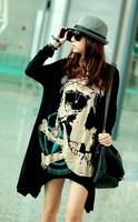 2014 New Punk Rock women personality loosen large size skull print long Cotton Tee Top  sleeve  hot  T-Shirt   #C0417