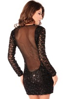 2015 Free Shipping Sexy Women Dress Sizzling Sequin Deep Mesh O Neck Party Mini Dress Black One-piece Dress Plus Size Wholesale