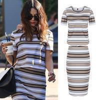 New 2014 Summer Women Celeb Striped Bodycon Slim Dresses Short Sleeve Party Midi Casual Women Dress 2 Pcs