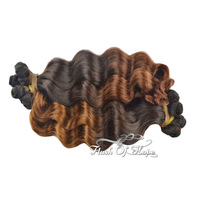 120g/pc Brazilian Ombre Loose Wave Human Hair Extensions Two-Tone Colors Hair Weaving Weft  4 Small Bundles/Pack 3Packs/lot 18""
