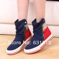 new 2014 women Sneakers Fashion  women's casual canvas shoes color block decoration shoes double zipper popper fashion shoes