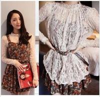 New 2014 spring and summer dress vintage elegant suspender women dress lace shirt twinset  clothing set shirt+dress S21