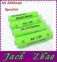 8pcs/lot 1.5v aa rechargeable battery 3000mah Alkaline rechargeable batteries batery for mp3 toy 12v (8pcs series )