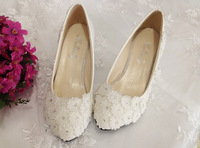 1807 Wholesale! Rhinestone Flower Women Pumps Wedding shoes White 3/4.5/8.5/11cm Size36-40
