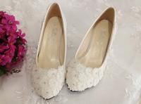 1807 Wholesale! Rhinestone Flower Women Pumps Wedding shoes White 3/4.5/8.5/11cm Size36-40